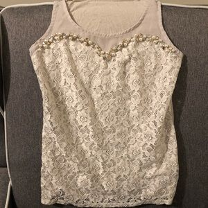 Express Lace Overlay Sweetheart Embellished Top XS